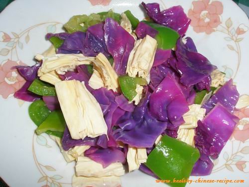 Stir Fried Red Cabbage and Green Pepper